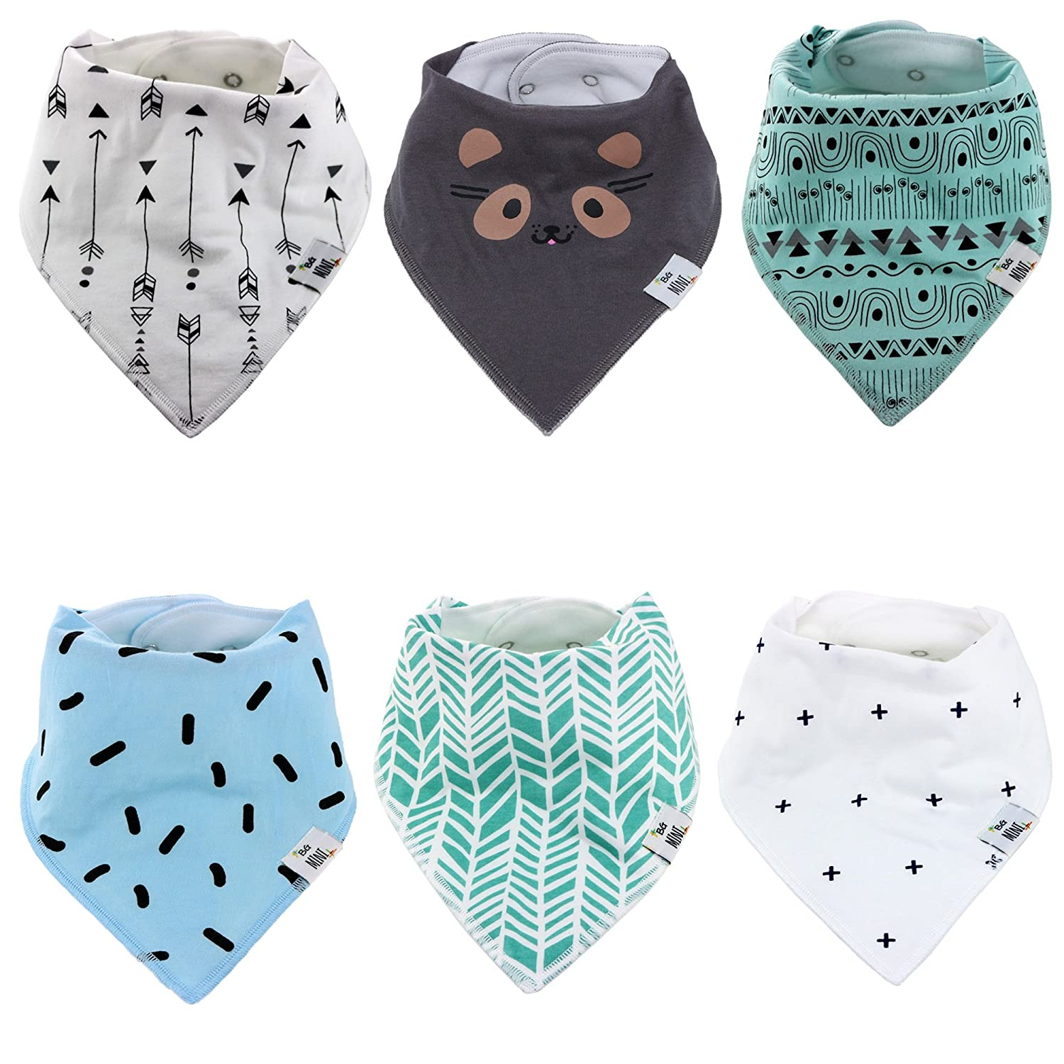 Baby Bandana Drool Bibs for Drooling and Teething - By BG Mini 6 Pack for boys or Gilrs Soft Absorbent 100% Organic Cotton Perfect Bibs - Absorbent Babies & Toddlers - Shower Gift u-01