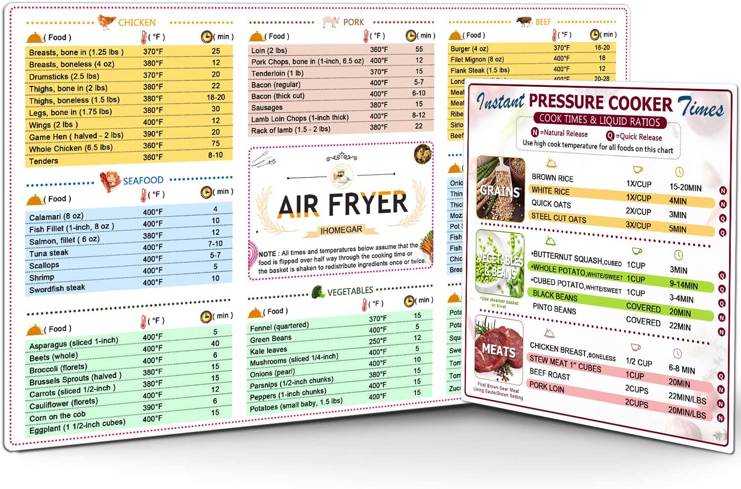 Air Fryer with Instant Pot Cheat Sheet Magnet Set,Pressure Cooker Accessories Electric Pressure Cooker Times Cookbook Chart Quick Reference Guide ,2 Pack