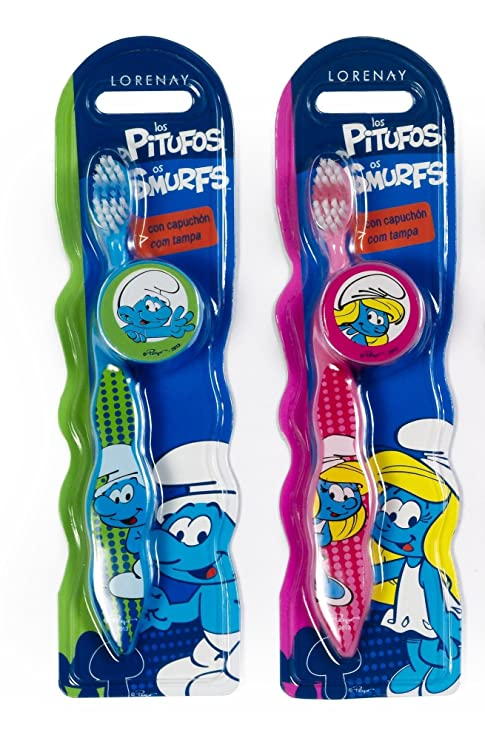 Cepillo de dientes infantil, diseño de Los pitufos, con capuchón, flexible y-