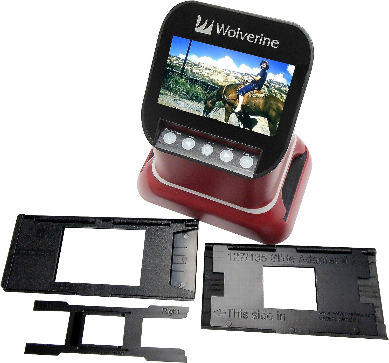 "Wolverine F2D Saturn Digital Film & Slide Scanner - Converts 120 Medium Format, 127 Film, Microfiche, 35mm Negatives & Slides to Digital JPEG - Large 4.3"" LCD w/HDMI Output (Red): Electronics"