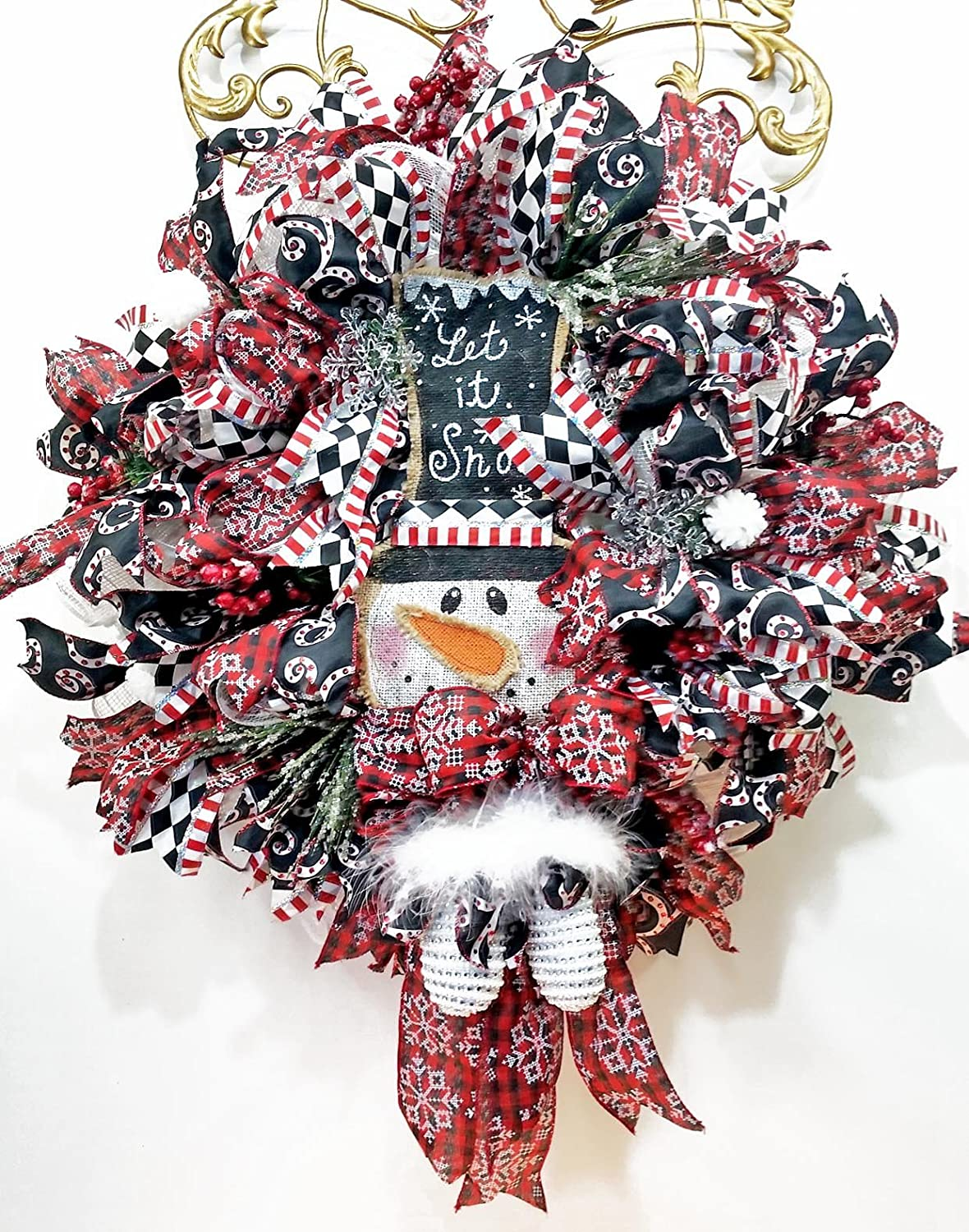 Handmade Let It Snow Christmas Snowman Wreath