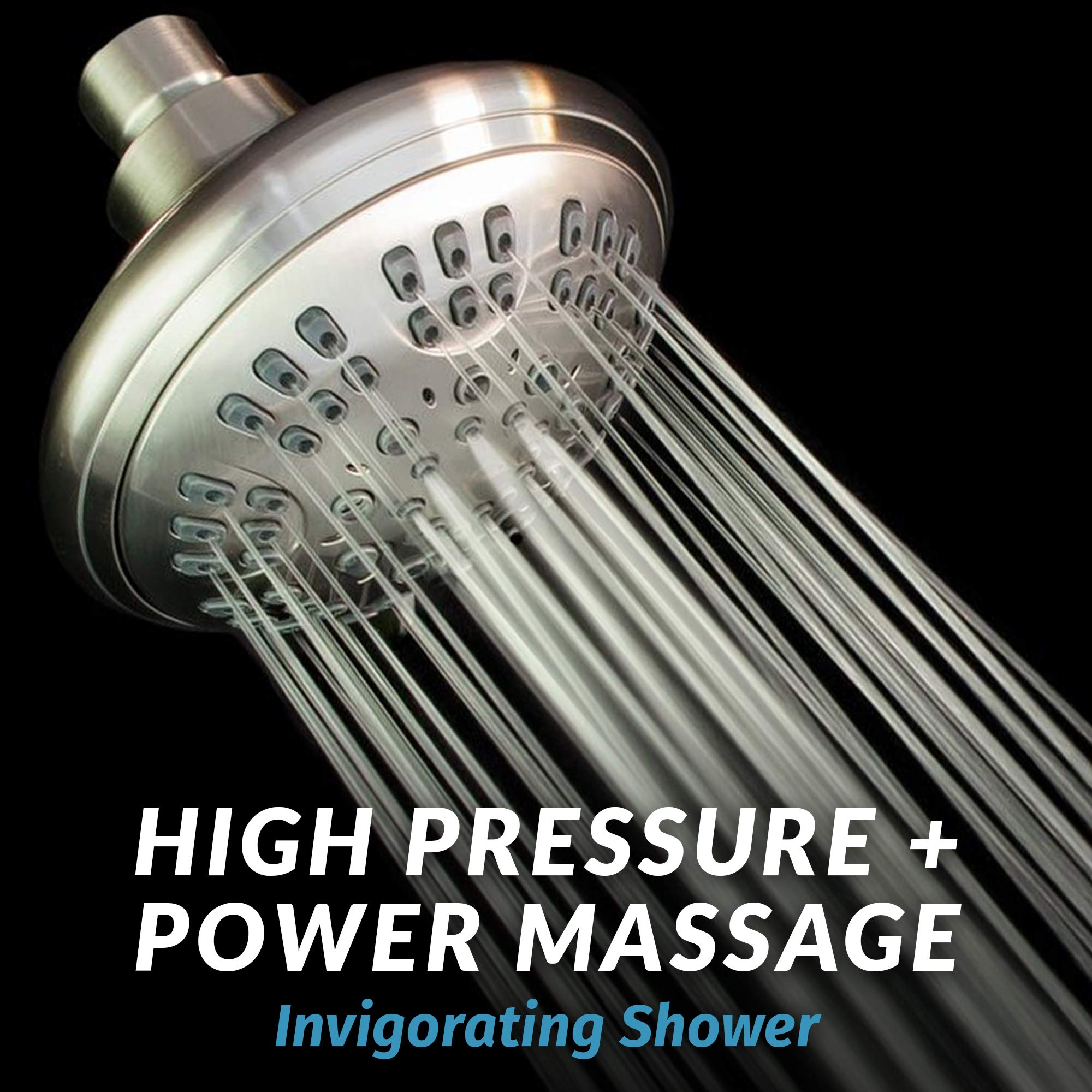 ShowerMaxx | Luxury Fixed Shower Head in Brushed Nickel Finish | Self Cleaning Nozzle Heads with 6-Settings Control | High Pressure Powerful Jets with Massage Spray | Wall Mount Adjustable Showerhead by ShowerMaxx (Image #8)