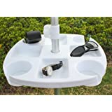 Ammsun TSD1609 17 Inch Plastic Beach Umbrella Table with 4 Cup Holders, White