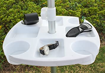 AMMSUN Plastic Beach Umbrella Table With 4 Cup Holders, White (17 Inch,  White