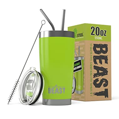Beast 20 oz. Tumbler Stainless Steel - Vacuum Insulated Rambler Coffee Travel Cup Gift Bundle (20 oz, Lemongrass Green)