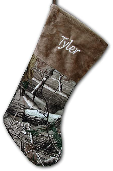 personalized brown camo christmas stocking officially licensed realtree ap shearling camouflage - Camo Christmas Stocking