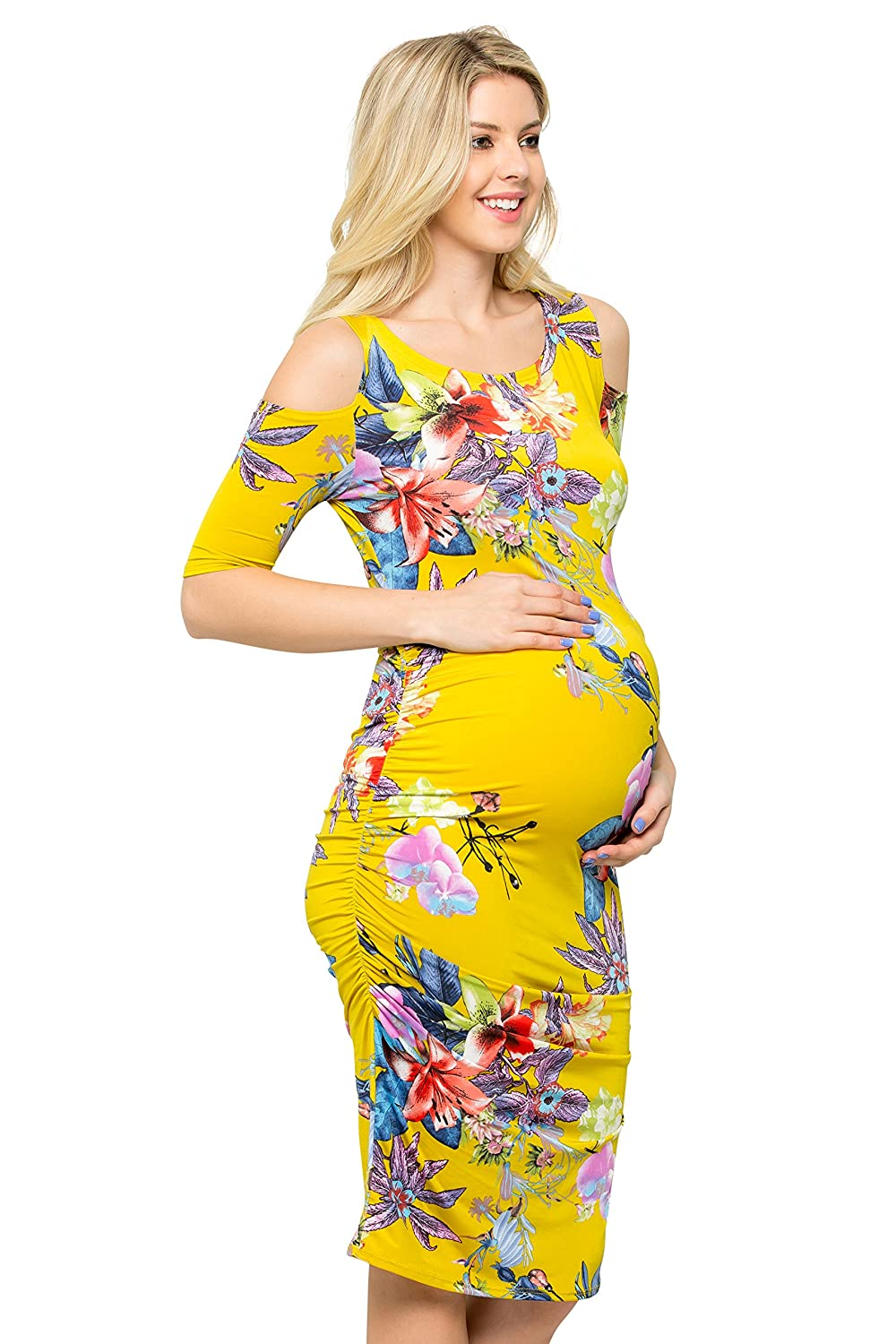 My Bump DRESS レディース B07B89TSGP Small|Yellow/Red Flower Yellow/Red Flower Small