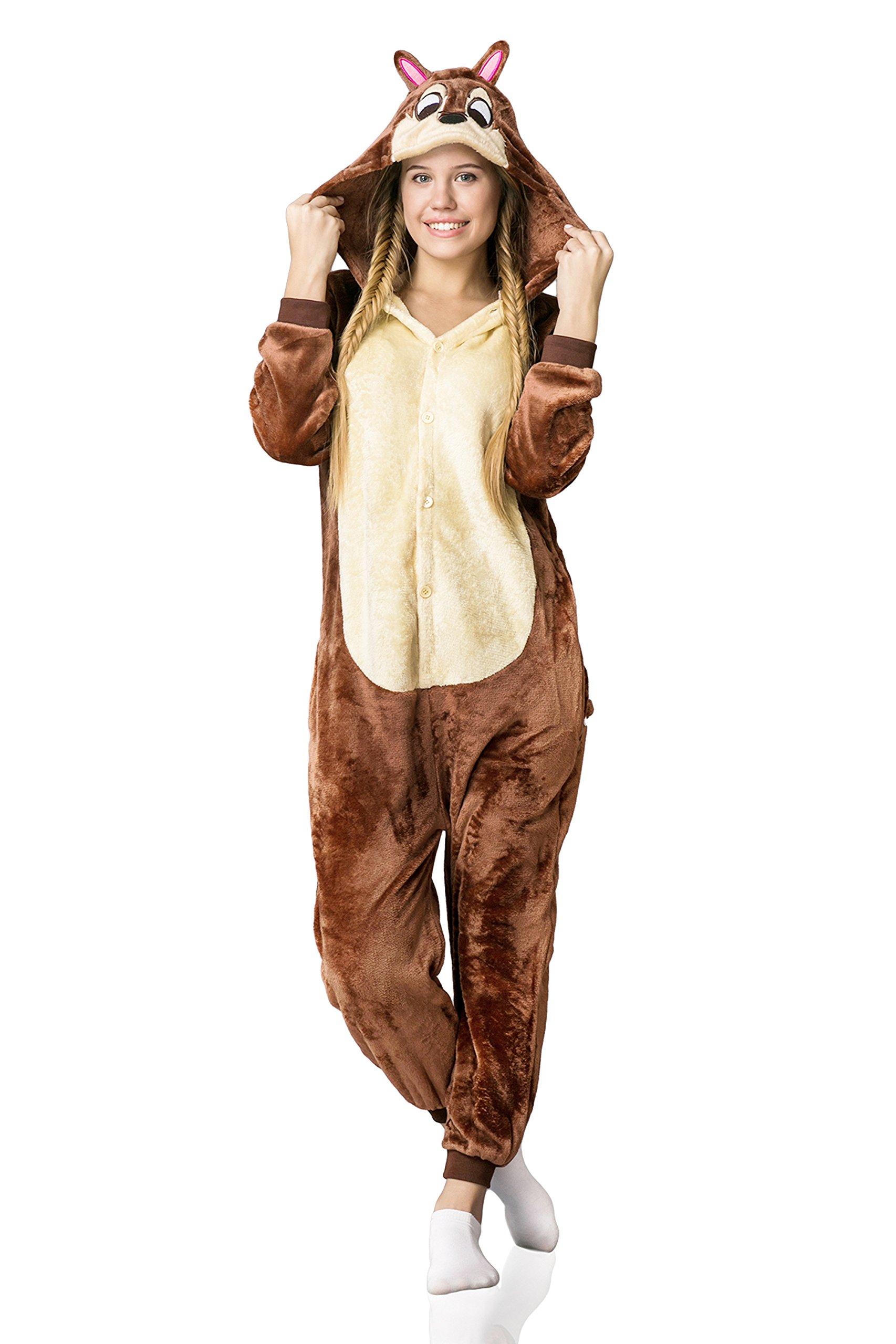 Adult Chipmunk Kigurumi Animal Onesie Pajamas Onsie One Piece Cosplay Costume (L, brown, beige)