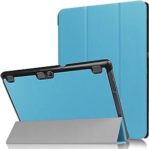 """Asng Lenovo Tab 2 A10/TAB-X103F Tab 10 Case, Ultra Slim Lightweight Tri-Fold Cover for Lenovo Tab 2 A10-70/Tab 2 A10-30/Tab 3 Plus/Tab 3 10 Business TB3-X70/TAB-X103F Tab 10 10.1"""" Tablet (Sky Blue)"""