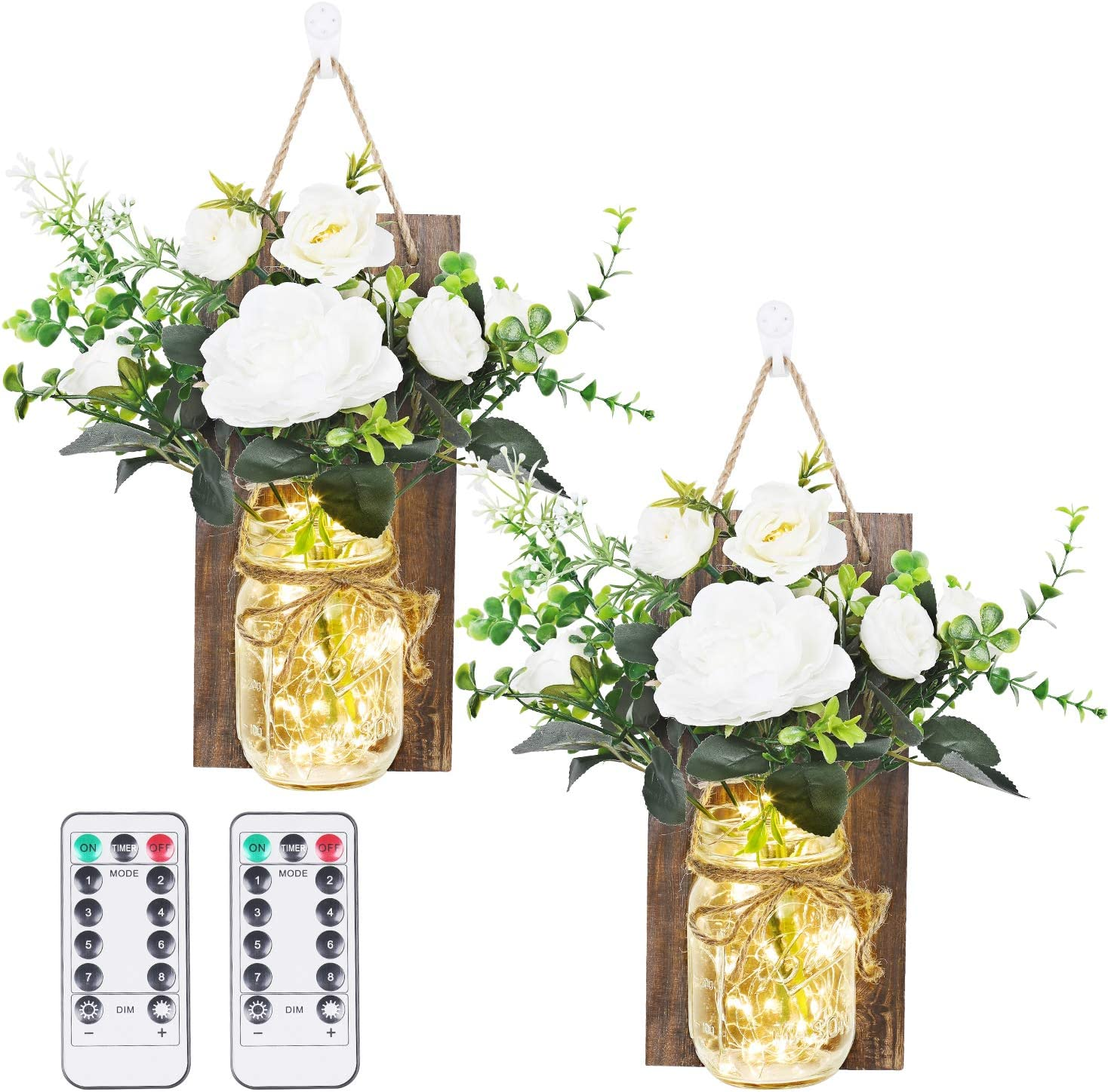 Anpro Rustic Wall Sconces - Mason Jars Sconce, Rustic Home Decor,Wrought Iron Hooks, Silk Hydrangea and LED Strip Lights Design 6 Hour Timer Home Decoration (Set of 2)