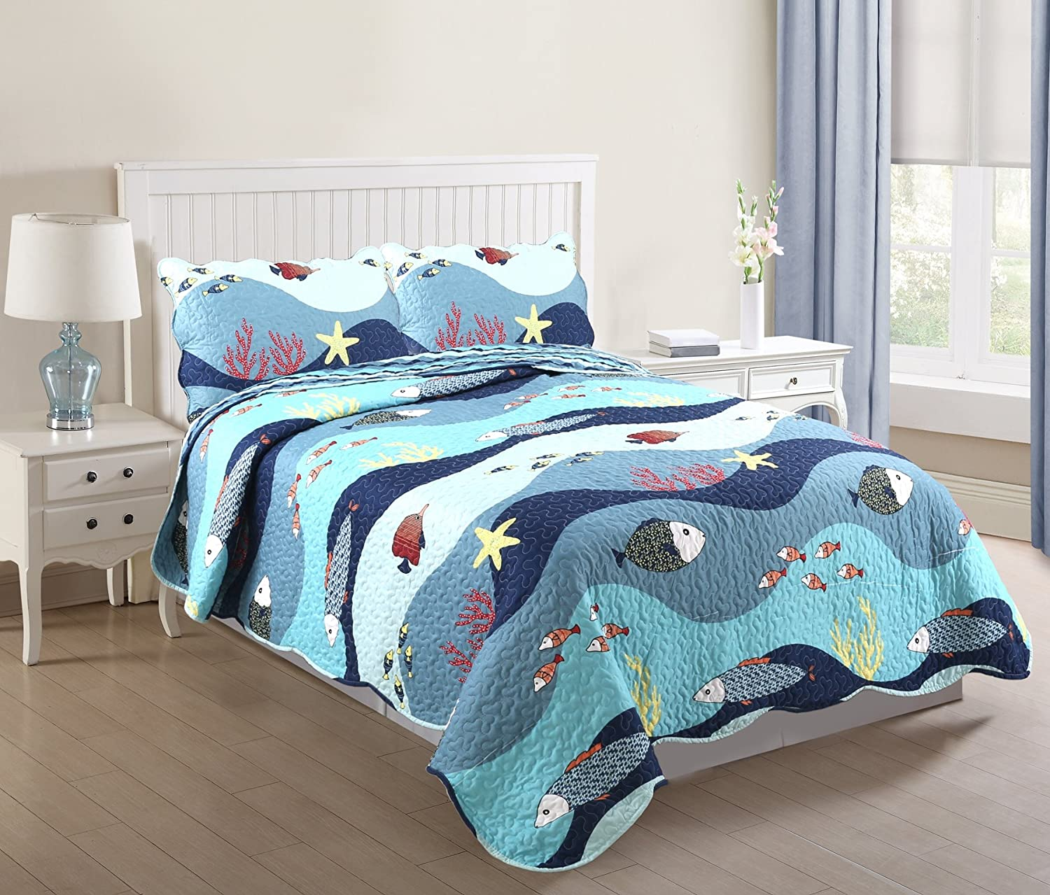 MarCielo 3 Piece Kids Bedspread Quilts Set Throw Blanket for Teens Boys Girls Bed Printed Bedding Coverlet, Full Size, Ocean Fish (Full