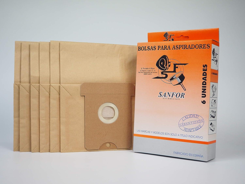 Sanfor 80510 Caja Aspirador AEG-22 6 (9 Cajas de 6 Bolsas), Papel, MARRÓN: Amazon.es: Hogar