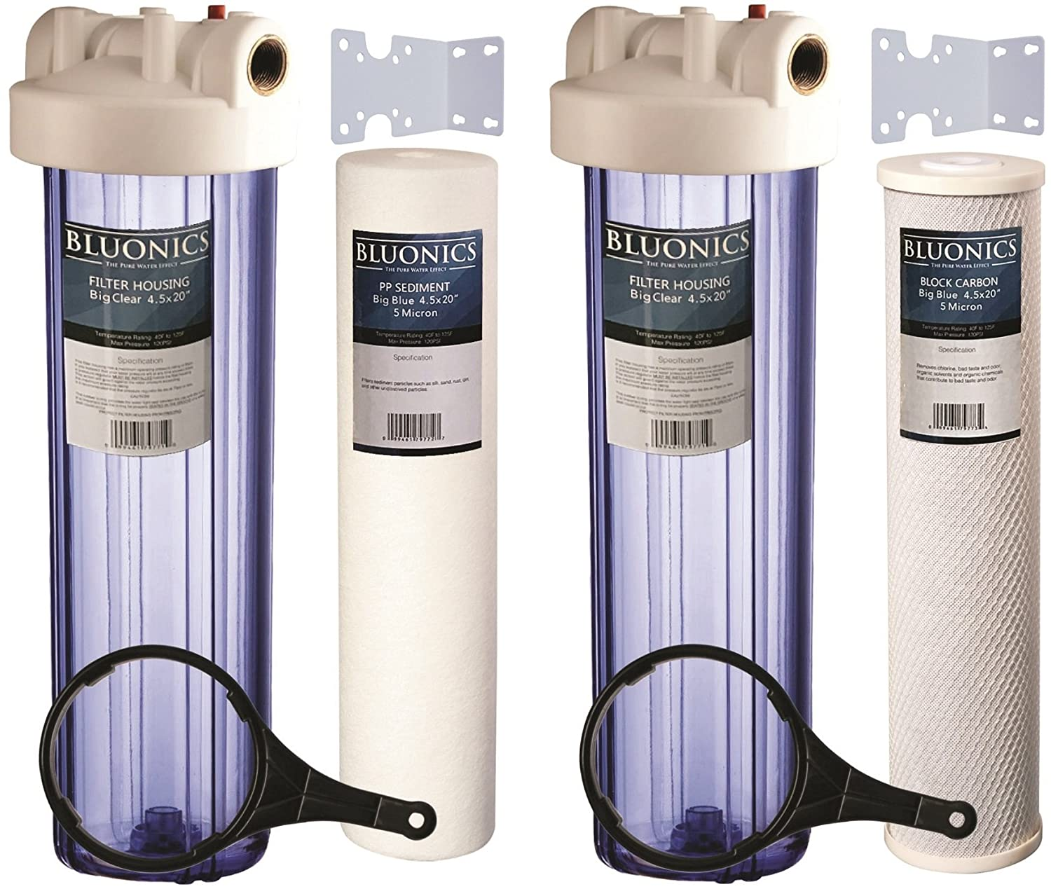 """Two 20"""" Big Blue Whole House Water Filters w/Sediment & Carbon with CLEAR BLUE TRANSPARENT HOUSINGS"""