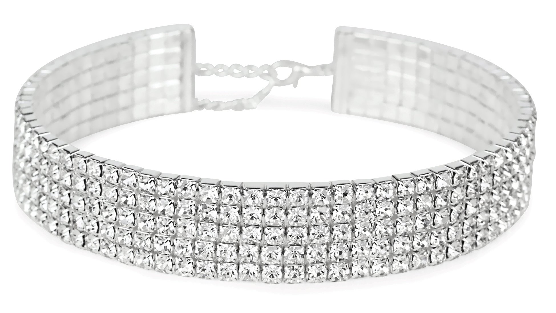 LuxeLife Rhinestone Choker 5 Row Silver by Women's Crystal Look Necklace with 5 Inch Extender Chain – Classic Fashion Jewelry Accessories – Matches Earrings and Bracelets Flawlessly