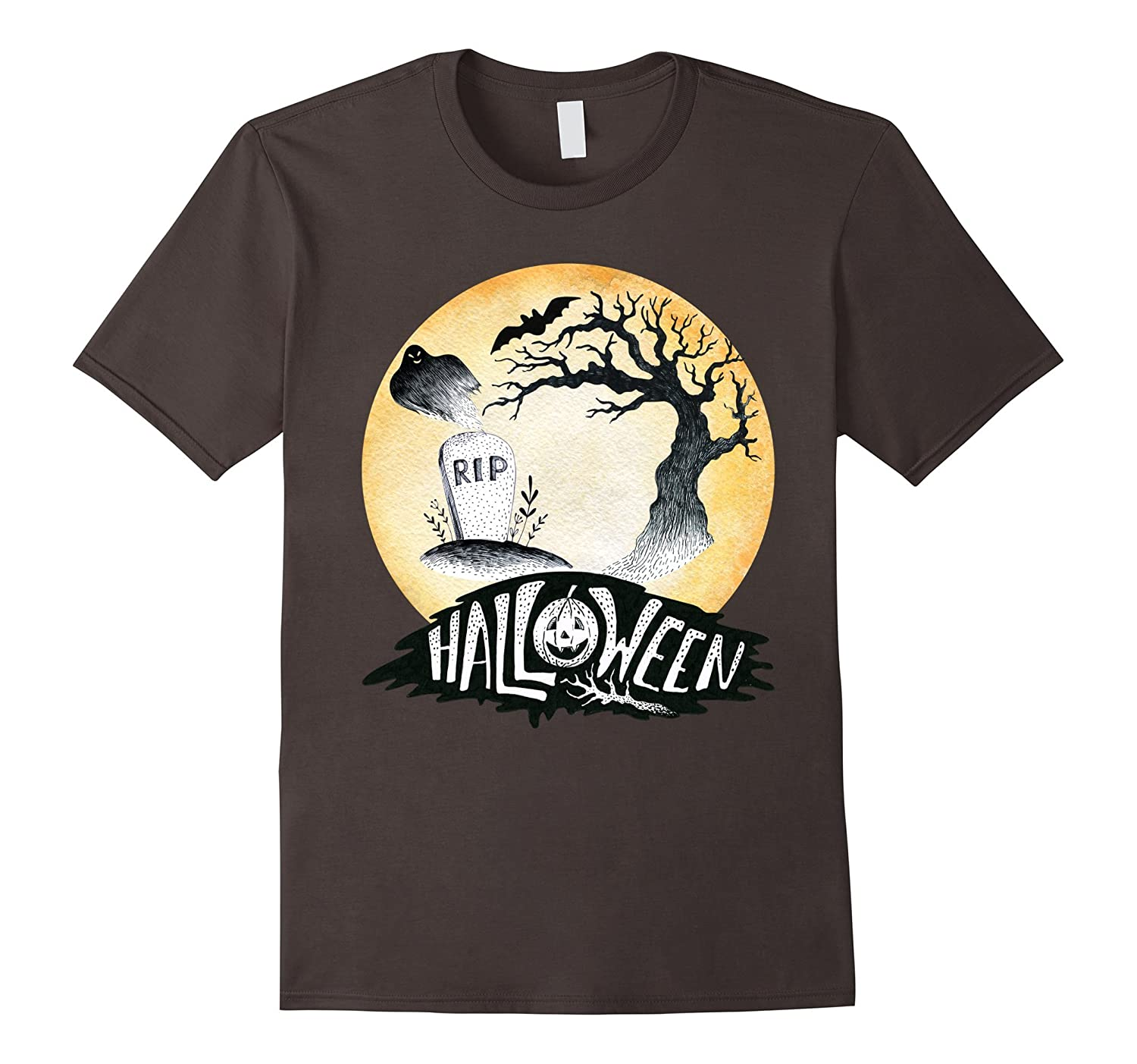 Halloween Spooky Ghost Tombstone Tree Bat T-Shirt