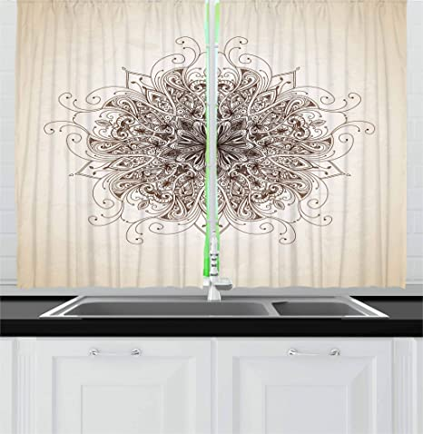 Amazon Com Ambesonne Mandala Kitchen Curtains Curving Soft Lines Old Fashioned Mandala Pattern Growth Image Window Drapes 2 Panel Set For Kitchen Cafe Decor 55 X 39 Sepia Brown Home Kitchen