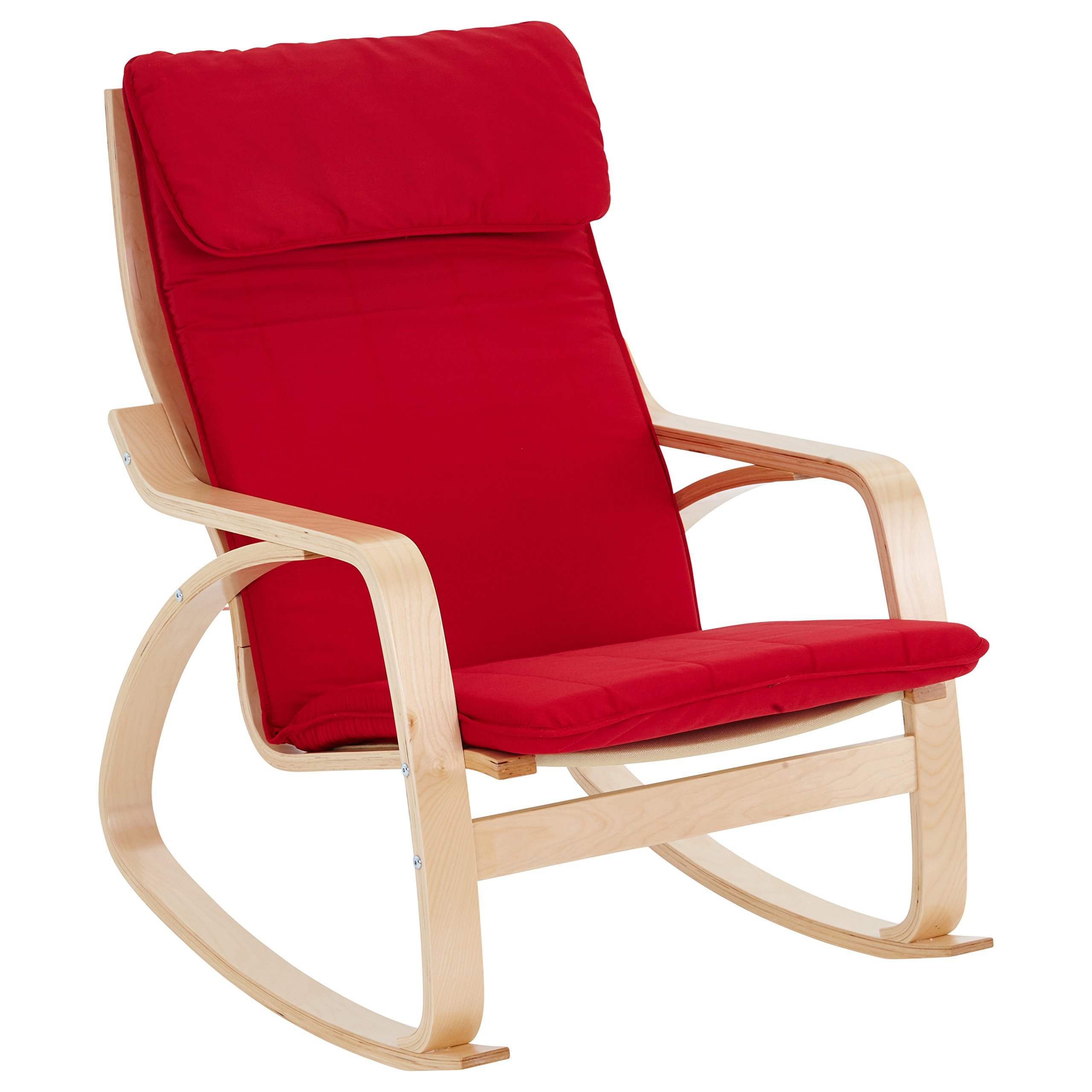 ECR4Kids Natural Bentwood Adult Rocking Chair, Birch Finish with Red Cushions