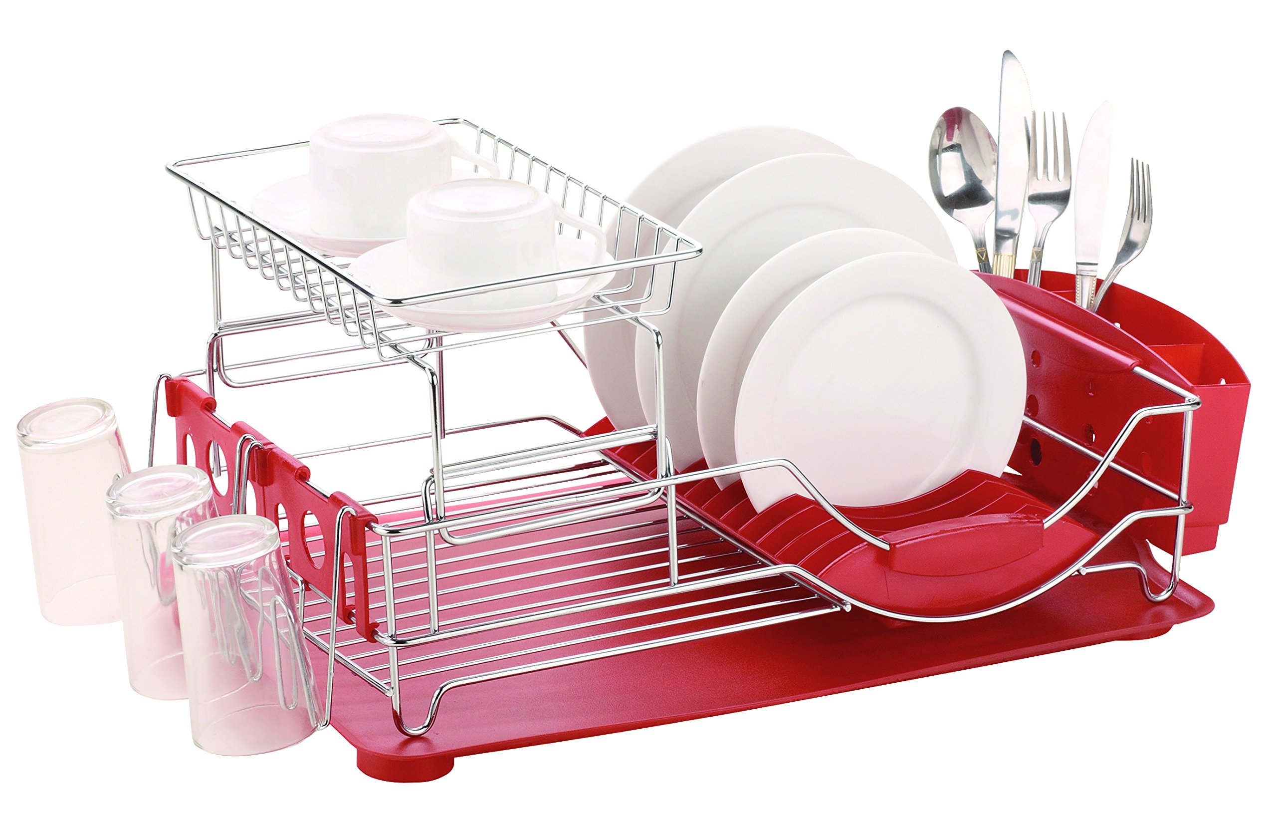 Home Basics DELUXE 2-Tier Dish RACK and Drainer, Red