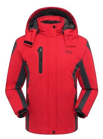 65dbc54dd4 ZSHOW Women s Winter Outdoor Waterproof Raincoat Windproof Fleece Ski Jacket(Red
