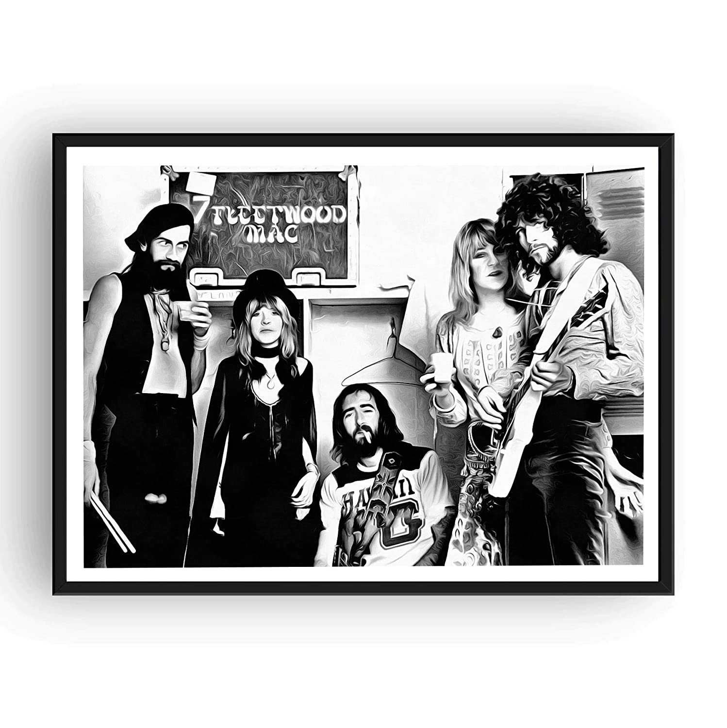 Amazon com fleetwood mac poster 13x19 fine art canvas black and white print posters prints