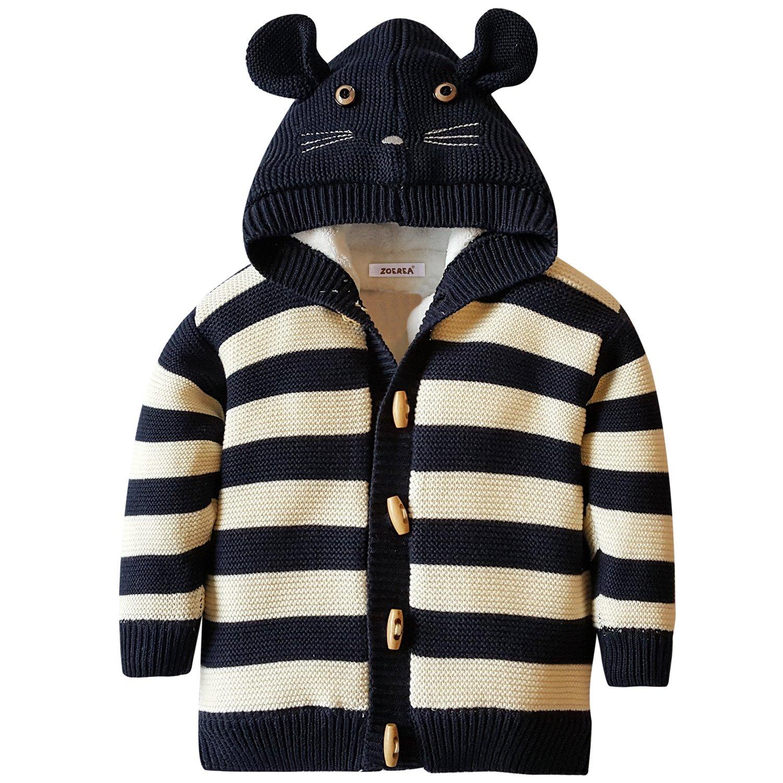ZOEREA Kids Striped Hoodies Animal Pattern Coral Fleece Sweater Coat (Label 90(2A)/Age 18-24 Months, Striped)