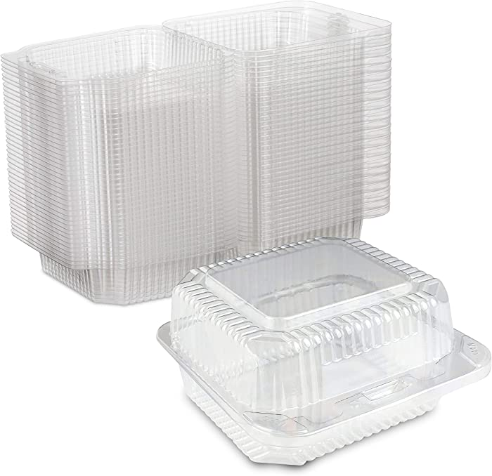 Clear Plastic Square Hinged Food Container, 5