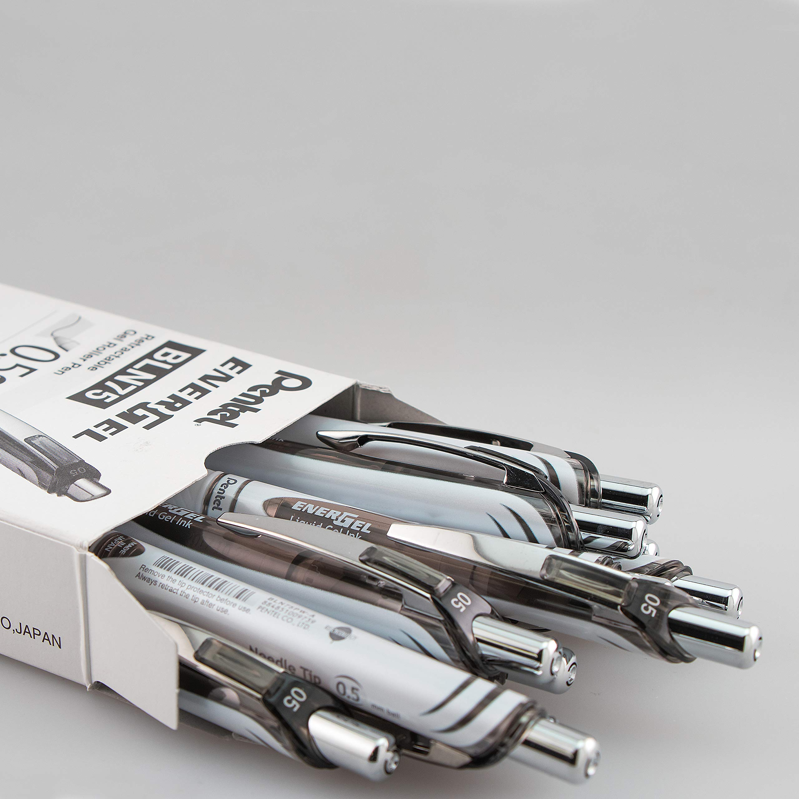 Pentel EnerGel Pearl Deluxe RTX Liquid Gel Pen, 0.5mm, Fine Line, Needle Tip, Black Ink, Box of 12 (BLN75PW-A) by Pentel (Image #2)
