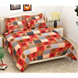 Fabture Check Printed Warm Velvet Bedsheet for Winters with 2 Pillow Covers