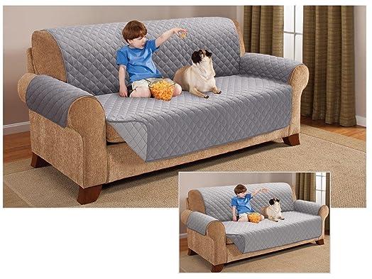 3 Seater Sofa REVERSIBLE Protector GREY SILVER 63 x 70 5
