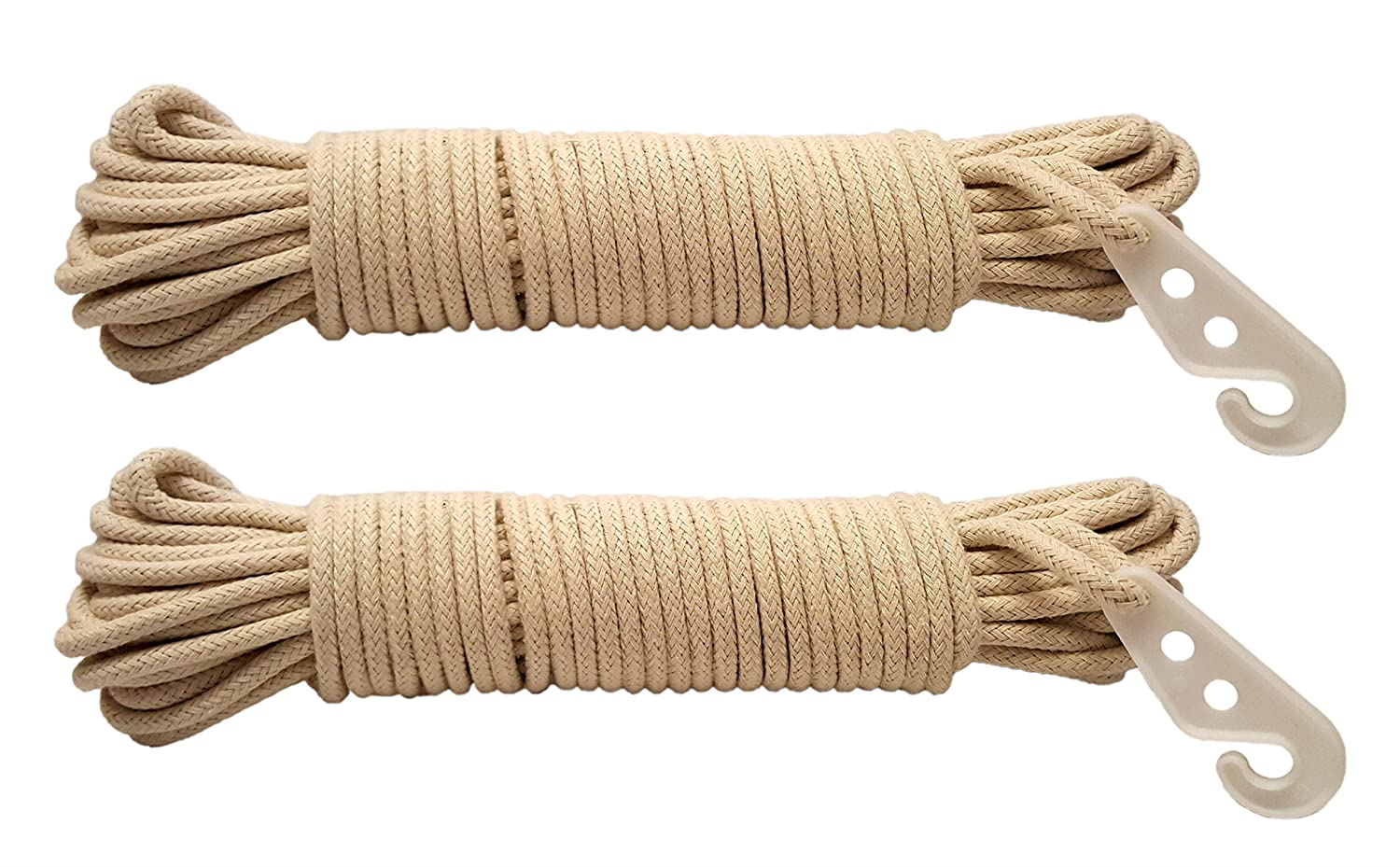 Black Duck Brand Set of 2 Braided Cotton Clothes Lines with Hooks 1//4 x 50