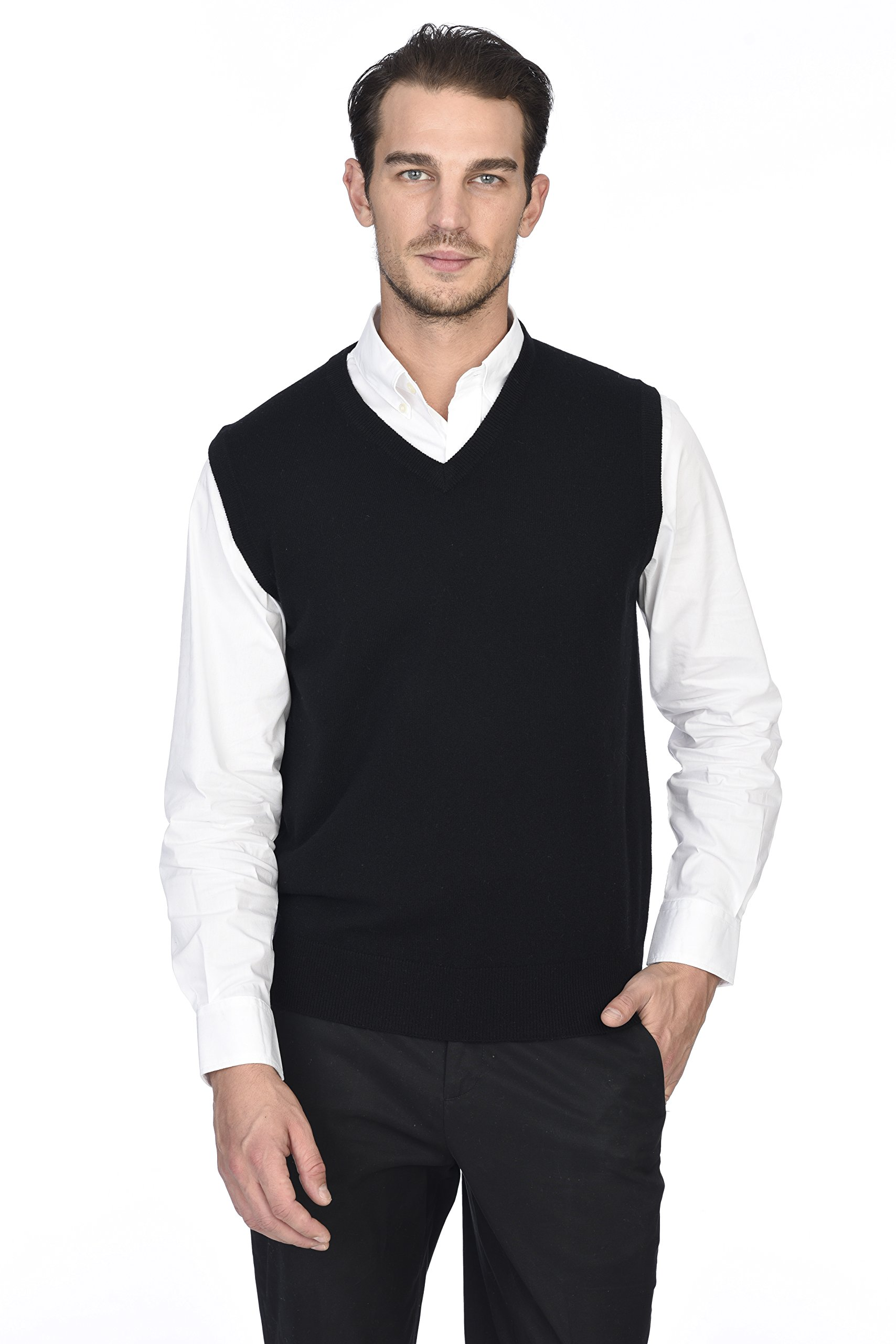 State Cashmere Men's 100% Pure Cashmere Regular Fit Pullover Casual Sweater Vest by State Cashmere