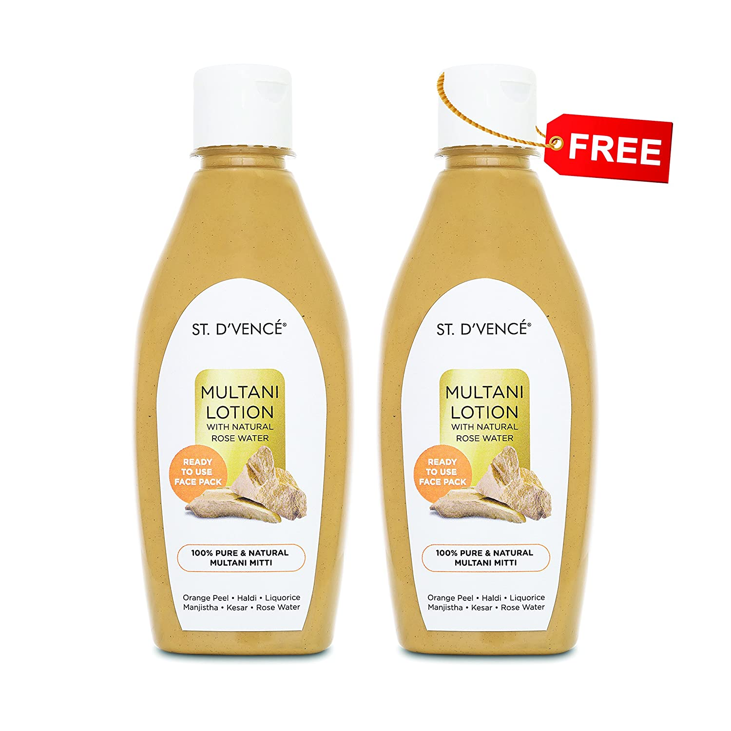 ST. D'VENCÉ Multani Mitti Lotion With Natural Rose Water, 275 ml (Buy 1 Get 1 FREE)