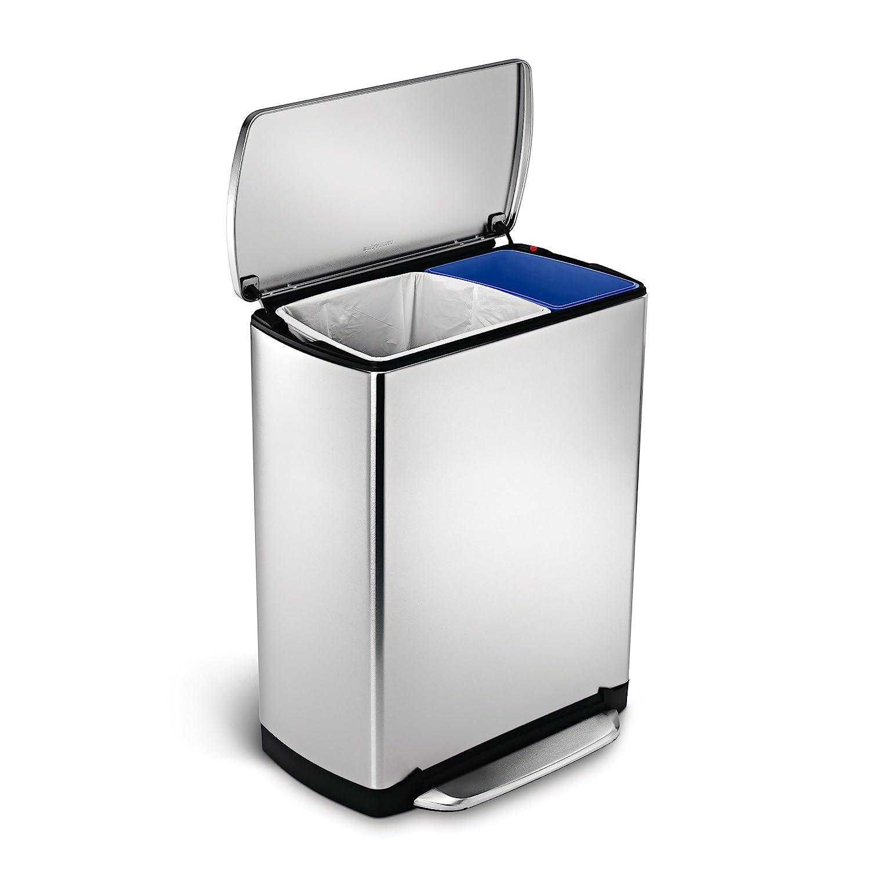 simplehuman wide pedal rectangular recycler 46 l fingerprint
