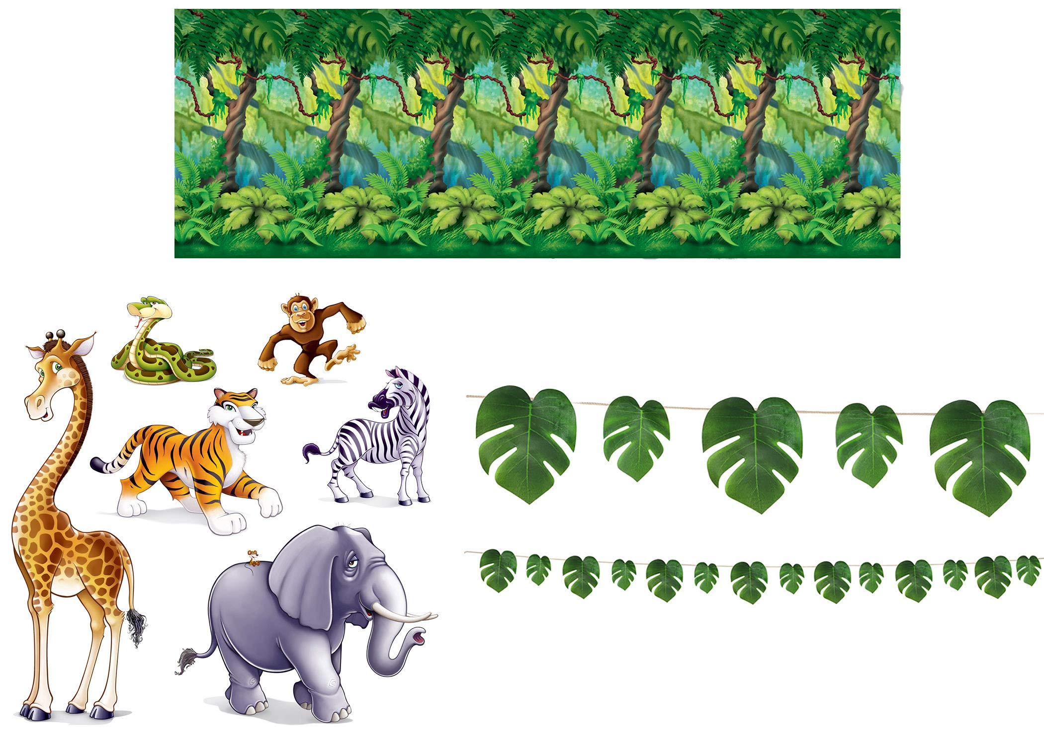 Jungle Safari Décor Bundle | Includes Jungle Trees Backdrop, Animal Props, and Palm Leaves Streamer
