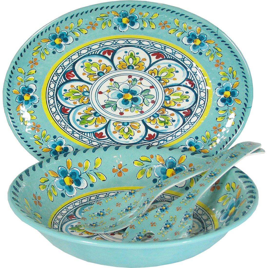 Le Cadeaux Madrid Turquoise - 4 Piece Serving Set