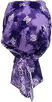 Fitted Bandana Cap Biker - Purple Batik Paisley