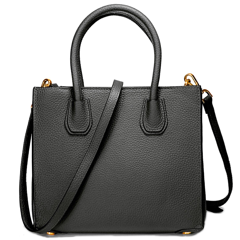 Genuine Leather Handbags Top Handle Bags for Women Cowhide Satchel Purses - Black