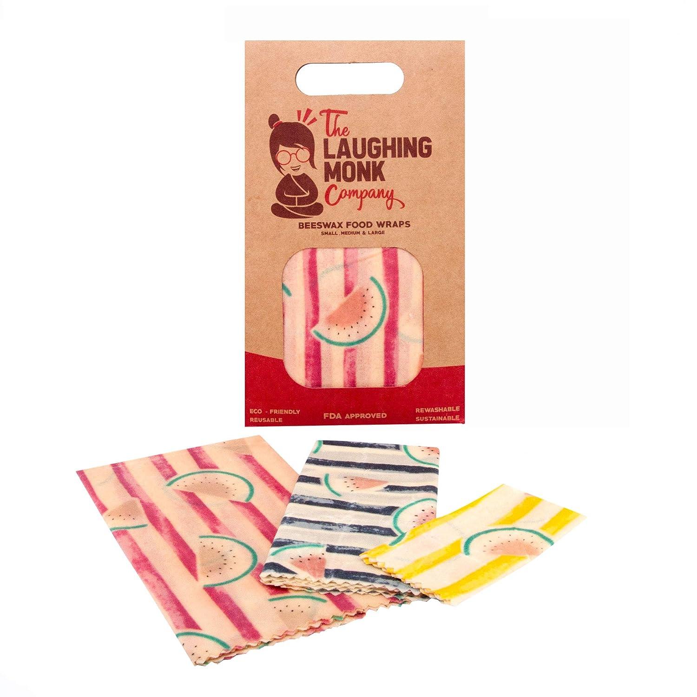 高級蜜蝋 食品ラップ プラスチック代替品 環境に優しい 再利用可能 洗濯可能 汚れにくい FDA承認 Laughing Monk Company B07FXSVRV5