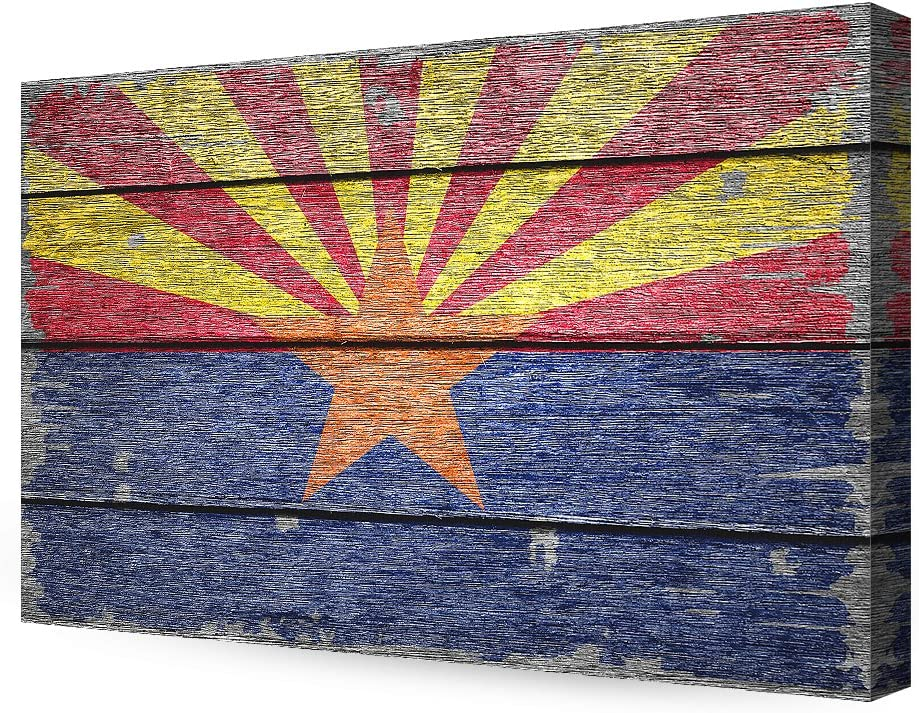 DECORARTS - Arizona State Flag. Giclee Print on 100% Archival Cotton Canvas, Canvas Wall Art for Wall Decor 36x24