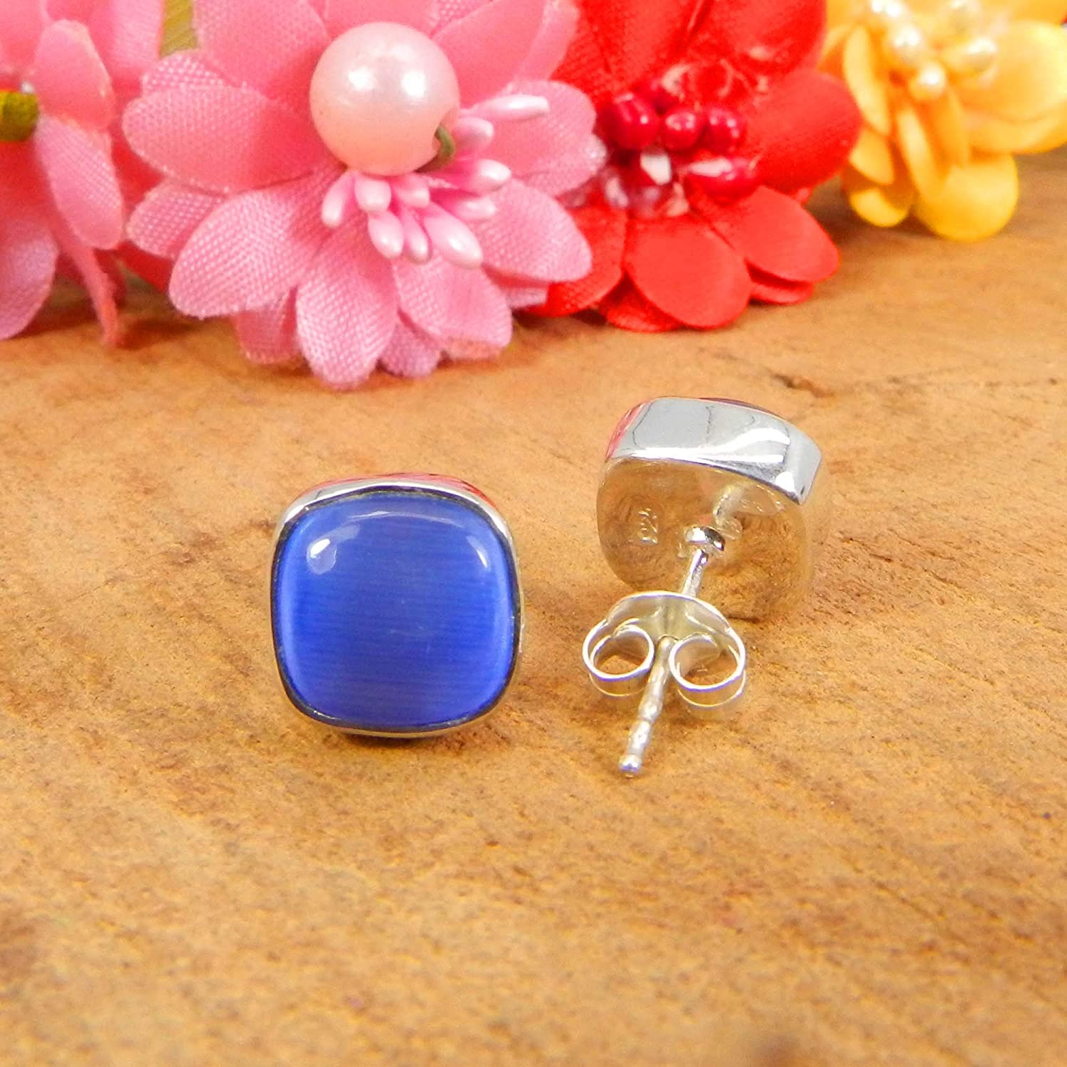 Gift for Her 925 Sterling Silver Gemstone Cushion Stud Earrings Blue Cats Eye, Silver