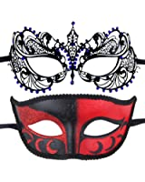 IETANG Couple Mardi Gras Venetian Masquerade Masks Set Party Costume Decorations (Blue)