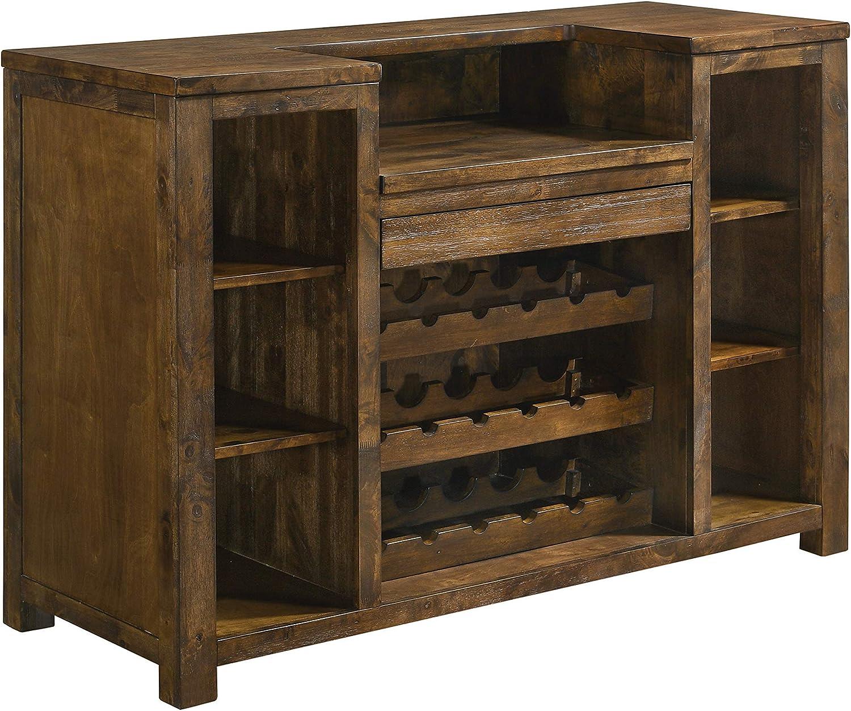 Coaster Home Furnishings Rectangular 1-Drawer Unit Rustic Oak Bar Cabinet, Brown