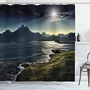 """Ambesonne Fantasy Shower Curtain, Image of Dark Fantasy Landscape with Sunbeams Over Ocean Seacoast Cliff Mountain, Cloth Fabric Bathroom Decor Set with Hooks, 75"""" Long, Green Navy"""