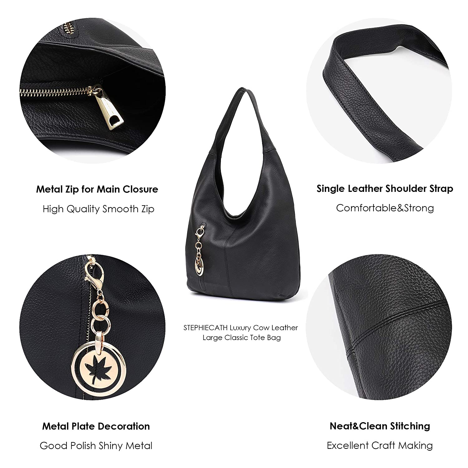 03336562021b Amazon.com  Women Hobo Bags STEPHIECATH Fashion Luxury Cow Leather Soft  Tote Shoulder Bag (BLACK)  Musical Instruments