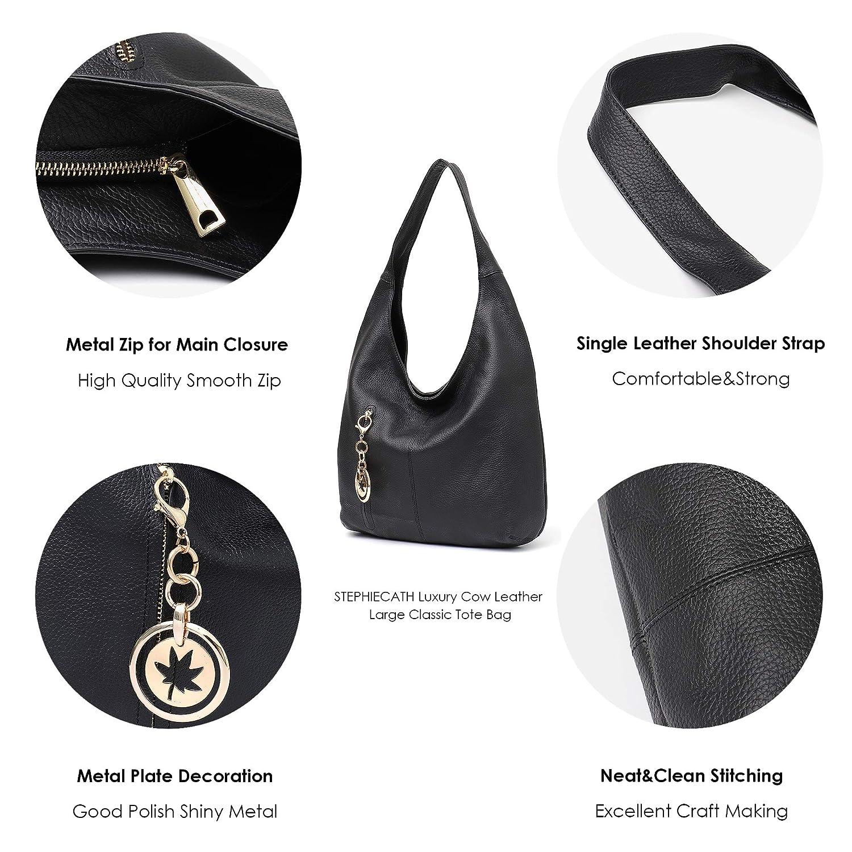 da25ecf10b4 Amazon.com  Women Hobo Bags STEPHIECATH Fashion Luxury Cow Leather Soft  Tote Shoulder Bag (BLACK)  Musical Instruments