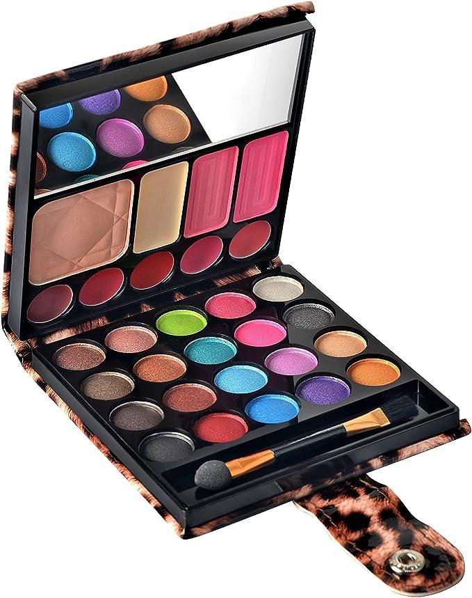 Ecvtop Professional Cosmetics Makeup Kit Eye shadow Blush Lip Gloss Eyebrow Makeup Palette Set with Mirror(Brown) by EVCTOP: Amazon.es: Belleza