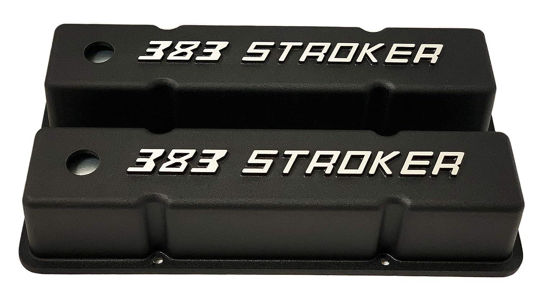 Small Block Chevy Tall Raised Letter 383 Stroker Black Valve Covers