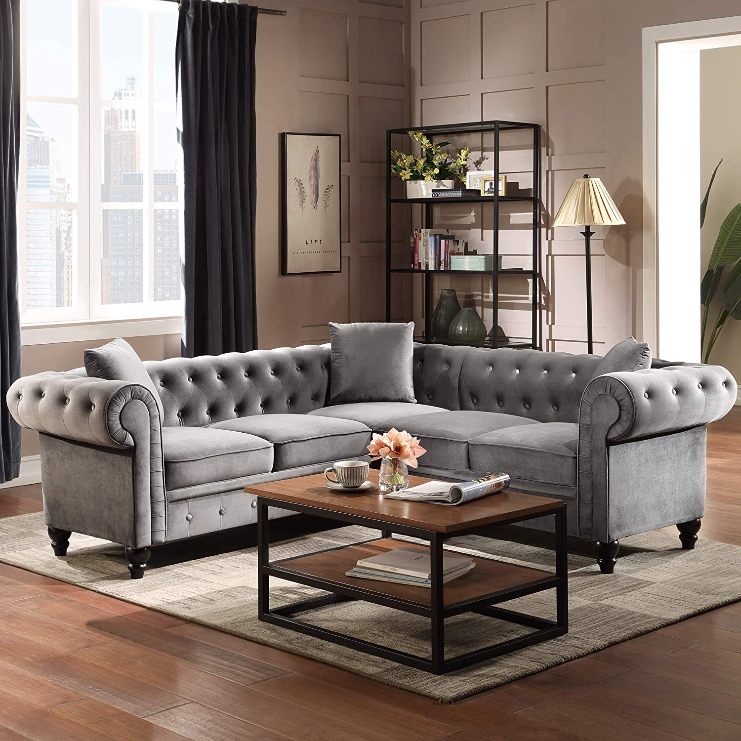 Amazon Com P Purlove Chesterfield Sectional Sofa Tufted Velvet Sectional Sofa Velvet Sofa With Upholstered Rolled Arm For Living Room 3 Pillows Included Kitchen Dining