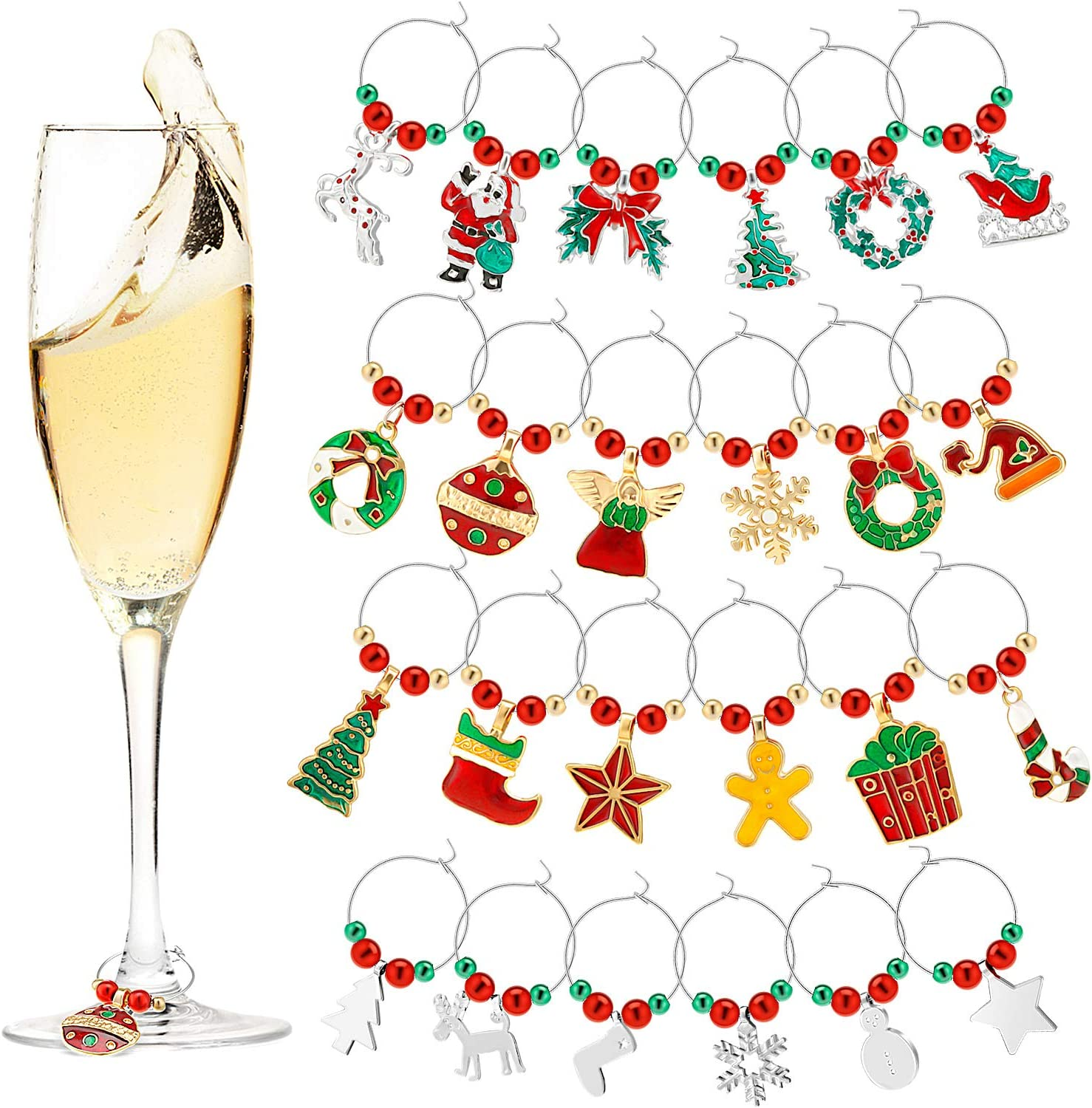 Wine Glass Charms Cute Wine Glass Tags Christmas Themed Wine Glass Markers for Christmas Party Favors Supplies  Style A  24 Pieces