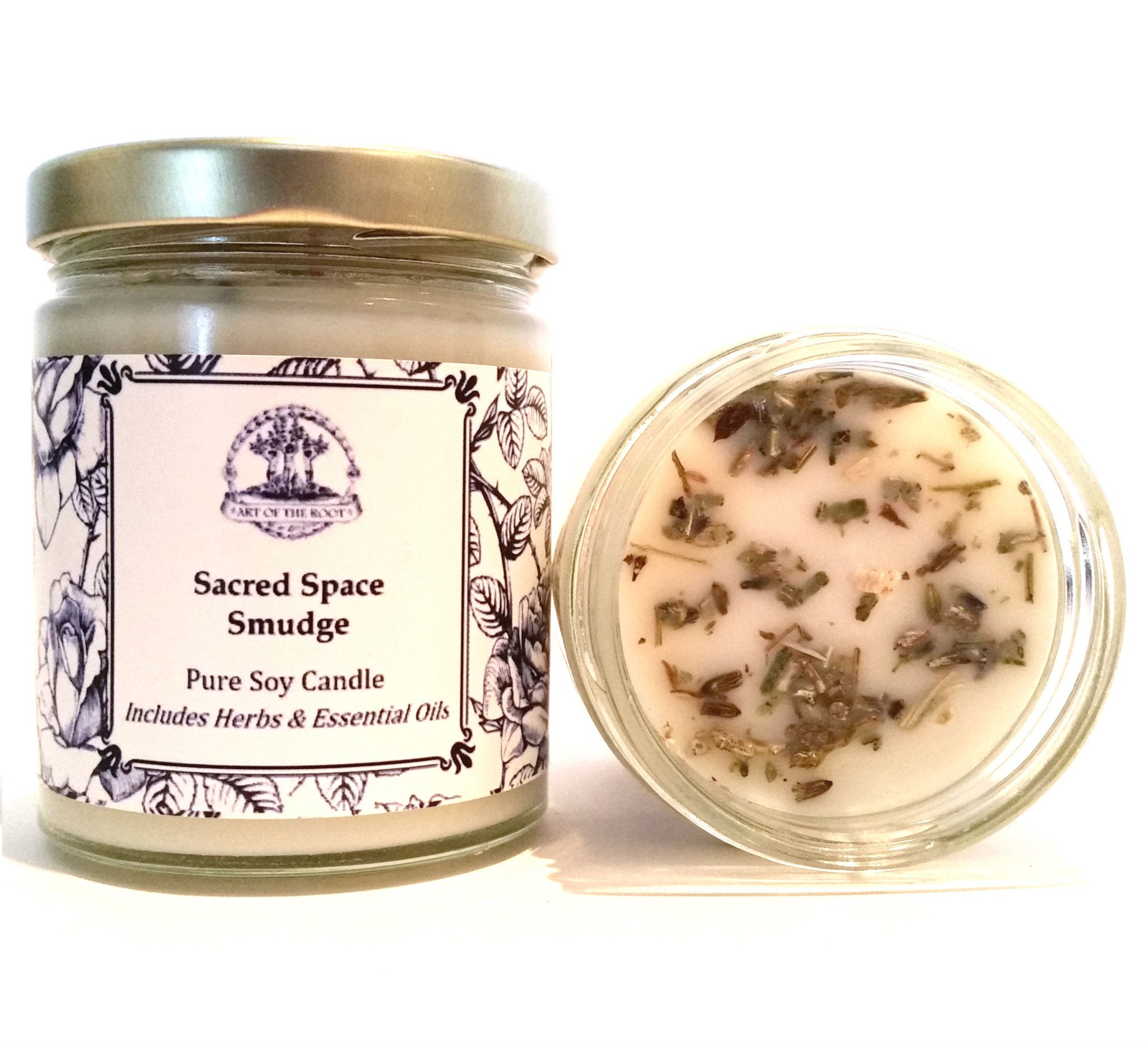 Art of the Root Sacred Space Soy Herbal Smudge Candle 8 oz Lavender, Sage & Cedar Purification, Negative Energy & Serenity